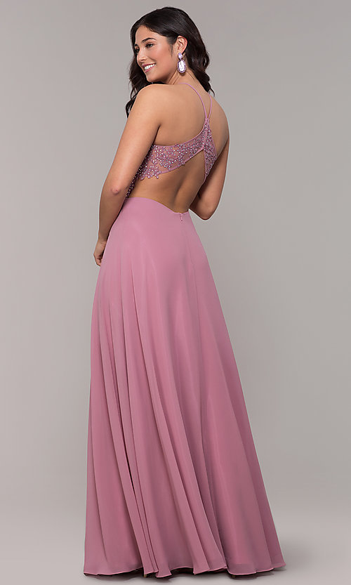 Image of rose high-neck embroidered-bodice long prom dress. Style: BN-169BN1 Back Image