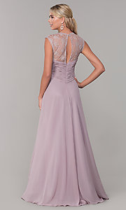 Image of long lace-back chiffon prom dress by PromGirl. Style: FB-PL-GL9001 Back Image