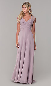 Image of long lace-back chiffon prom dress by PromGirl. Style: FB-PL-GL9001 Detail Image 3