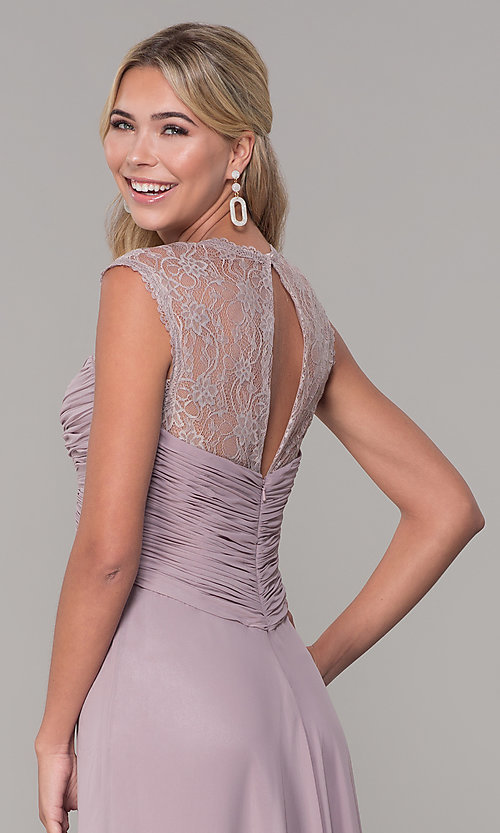 Image of long lace-back chiffon prom dress by PromGirl. Style: FB-PL-GL9001 Detail Image 2