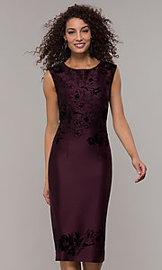 Image of knee-length sheath fig purple wedding-guest dress. Style: IT-9195101 Front Image