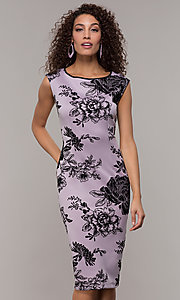 Image of knee-length velvet-print lilac wedding-guest dress. Style: IT-9195109 Front Image