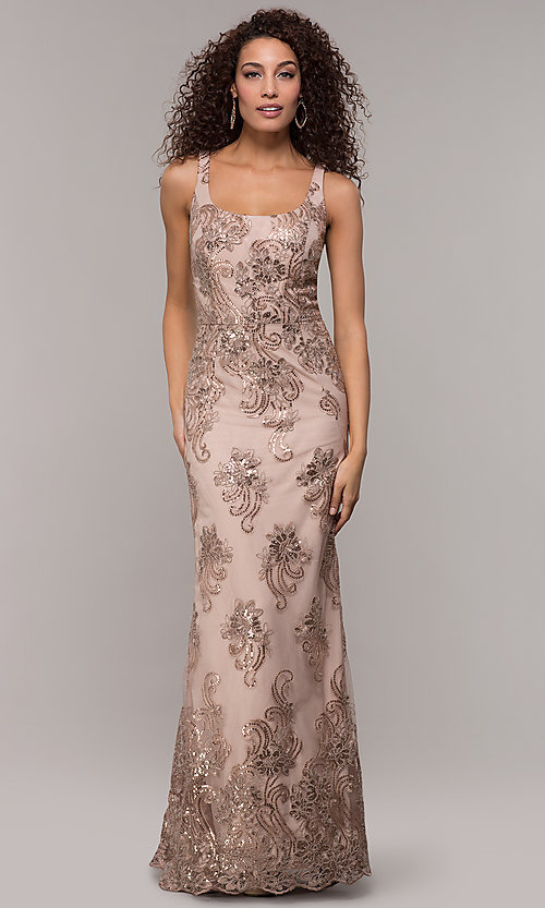 Image of long sequin-embroidered formal dress with cape. Style: IT-7120171 Front Image