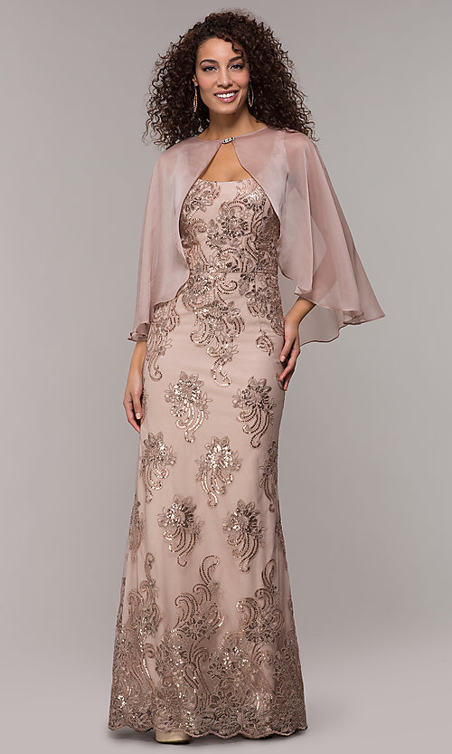 Image of long sequin-embroidered formal dress with cape. Style: IT-7120171 Detail Image 3