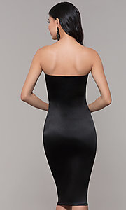 Image of knee-length strapless holiday party dress. Style: KIM-D2409 Detail Image 5