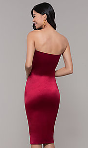 Image of knee-length strapless holiday party dress. Style: KIM-D2409 Back Image