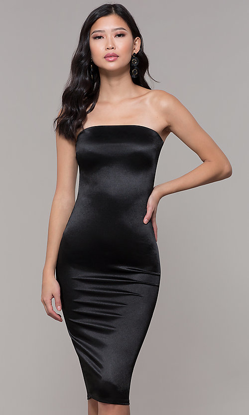 Image of knee-length strapless holiday party dress. Style: KIM-D2409 Detail Image 4