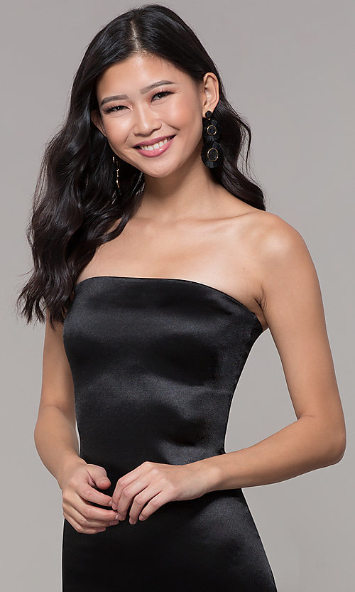 Image of knee-length strapless holiday party dress. Style: KIM-D2409 Detail Image 6