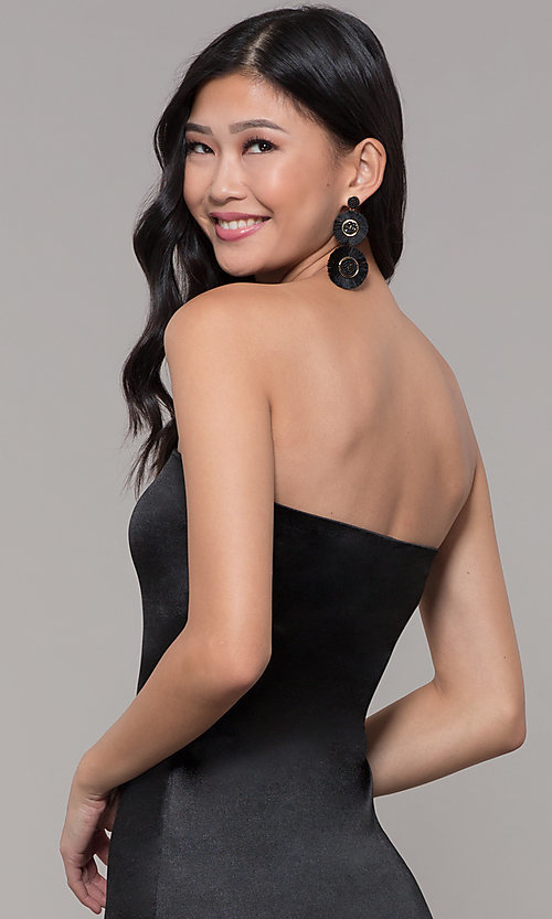 Image of knee-length strapless holiday party dress. Style: KIM-D2409 Detail Image 2