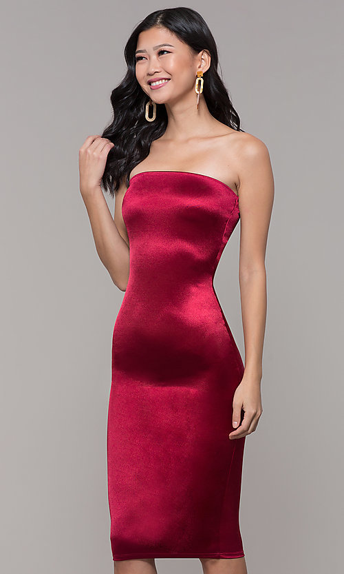 Image of knee-length strapless holiday party dress. Style: KIM-D2409 Front Image