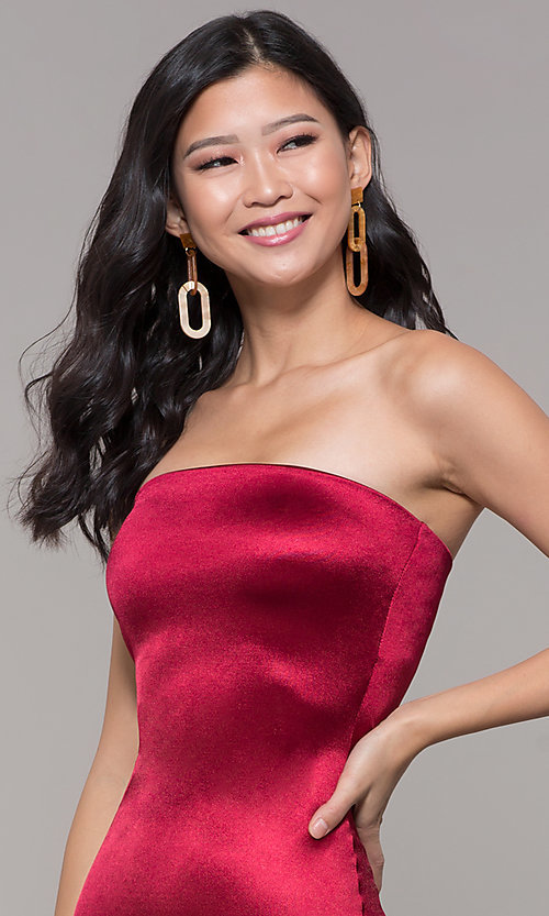 Image of knee-length strapless holiday party dress. Style: KIM-D2409 Detail Image 1
