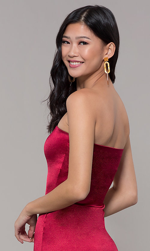 Image of knee-length strapless holiday party dress. Style: KIM-D2409 Detail Image 7