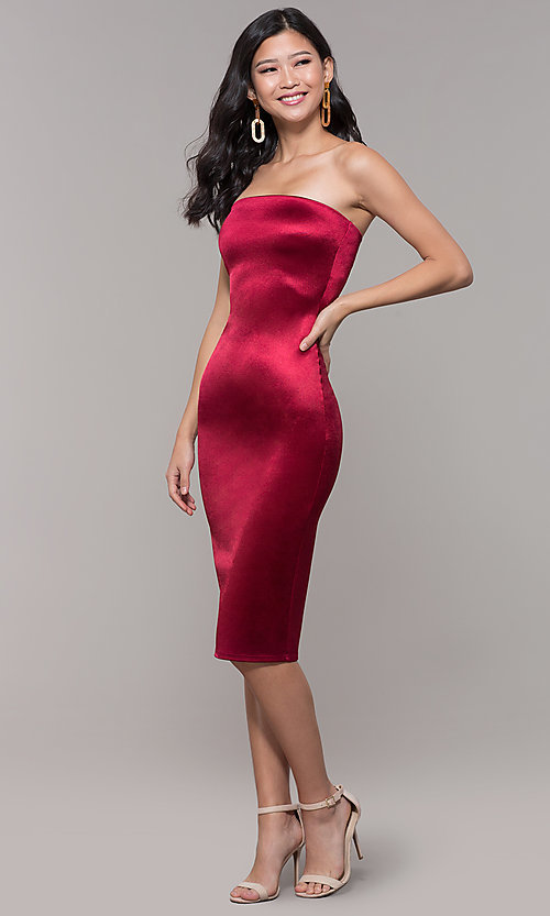 Image of knee-length strapless holiday party dress. Style: KIM-D2409 Detail Image 3