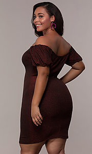 Image of short red off-the-shoulder plus-size party dress. Style: KIM-D23186B Back Image