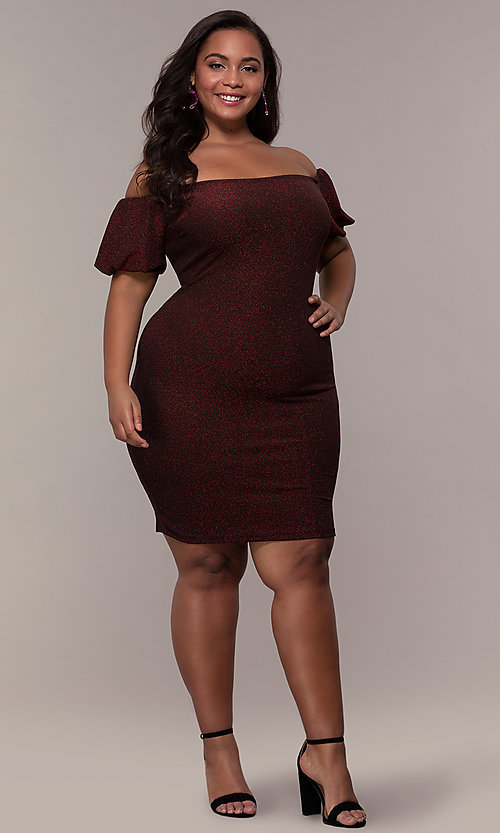 Image of short red off-the-shoulder plus-size party dress. Style: KIM-D23186B Detail Image 3