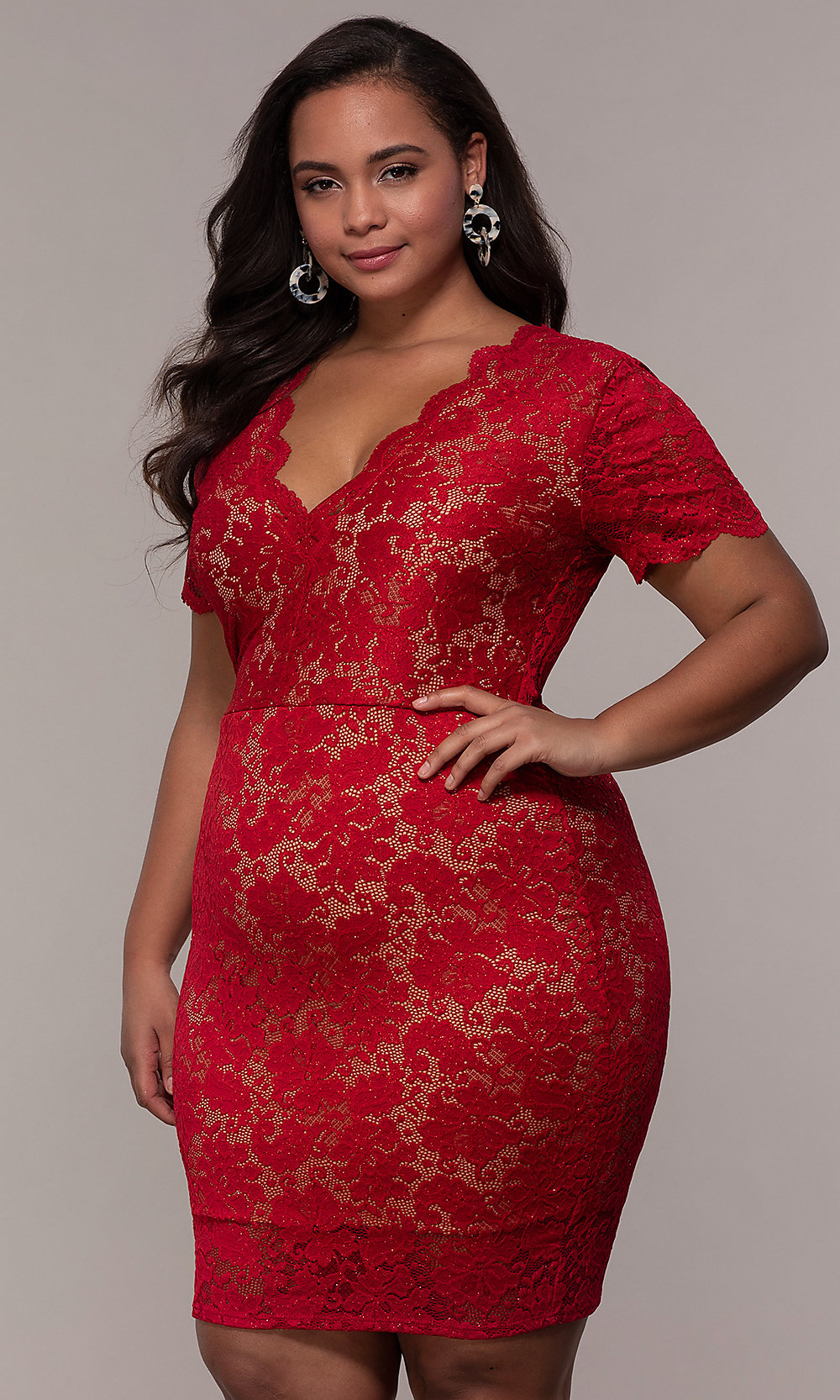V-Neck Short Floral-Lace Plus-Size Party Dress