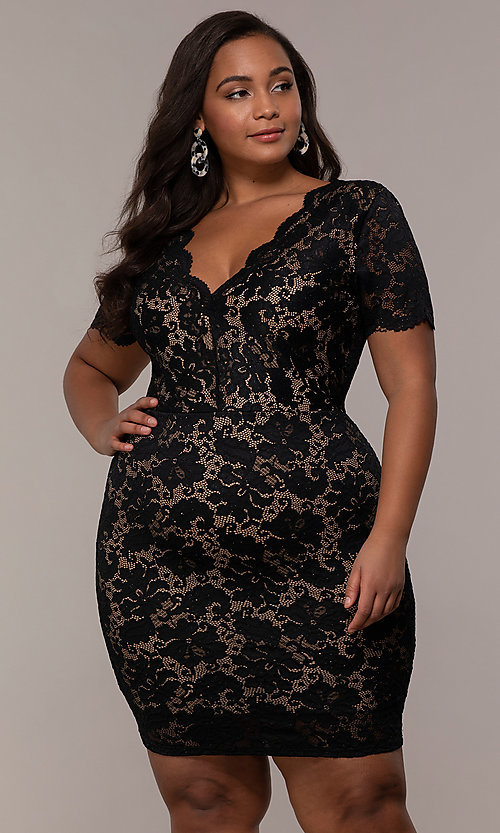 Image of v-neck short floral-lace plus-size party dress. Style b96fffab4
