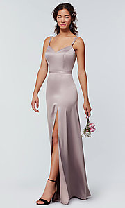 Image of satin-back-crepe long Kleinfeld bridesmaid dress. Style: KL-200138 Detail Image 2