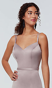 Image of satin-back-crepe long Kleinfeld bridesmaid dress. Style: KL-200138 Detail Image 3