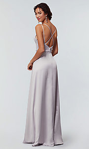 Image of satin-back-crepe long Kleinfeld bridesmaid dress. Style: KL-200138 Detail Image 6