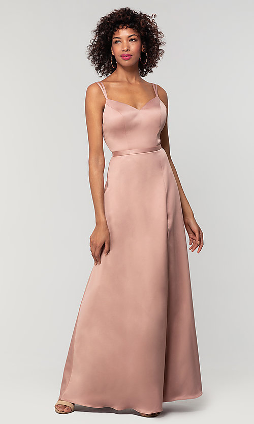 Image of satin-back-crepe long Kleinfeld bridesmaid dress. Style: KL-200138 Detail Image 7