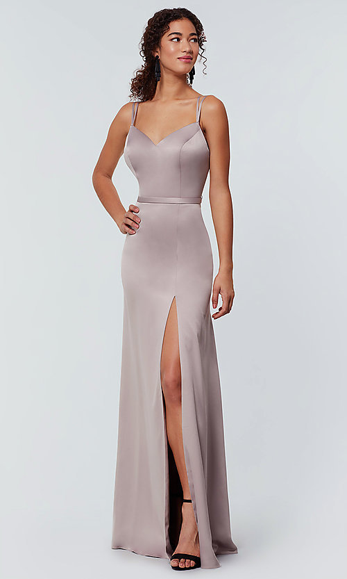 Image of satin-back-crepe long Kleinfeld bridesmaid dress. Style: KL-200138 Detail Image 1