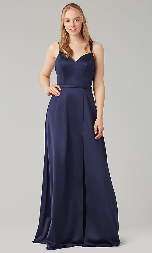 Image of satin-back-crepe long Kleinfeld bridesmaid dress. Style: KL-200138 Front Image