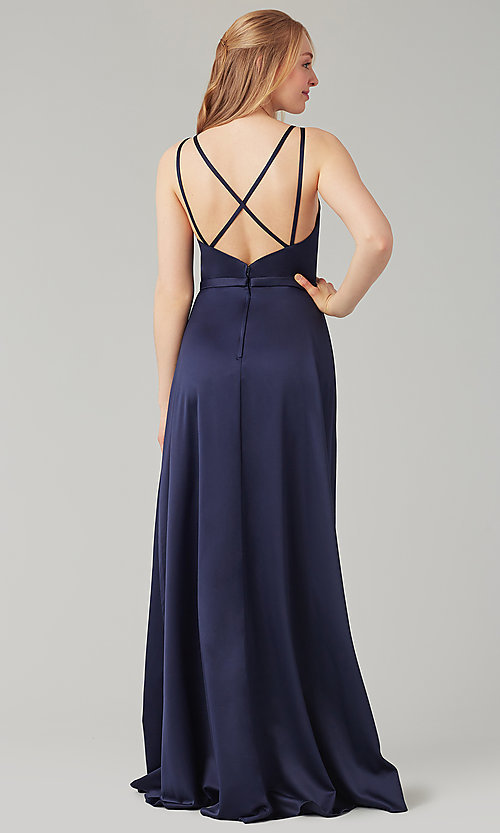 Image of satin-back-crepe long Kleinfeld bridesmaid dress. Style: KL-200138 Back Image