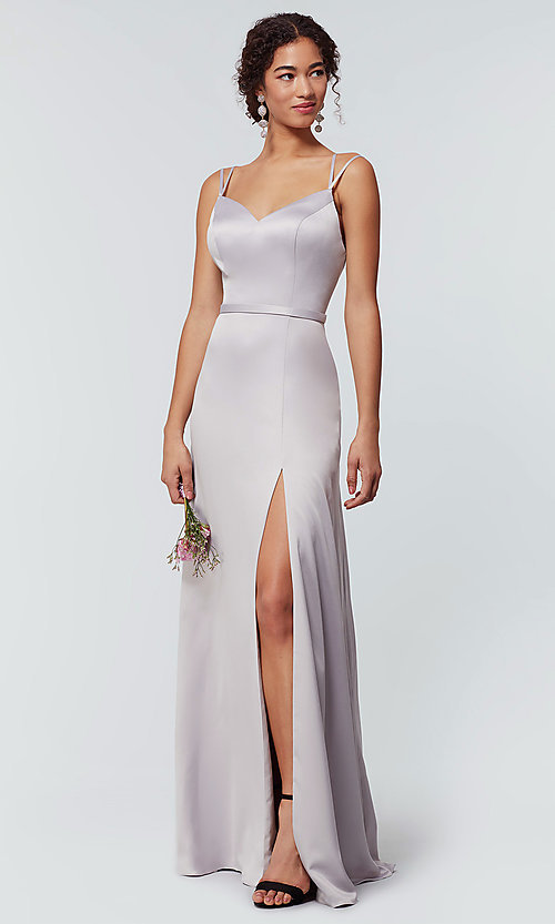 Image of satin-back-crepe long Kleinfeld bridesmaid dress. Style: KL-200138 Detail Image 5