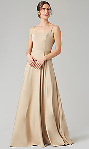 Image of long formal bridesmaid dress with corset back. Style: KL-200151 Detail Image 8
