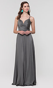Image of strappy-back long bridesmaid dress. Style: KL-200152 Detail Image 4