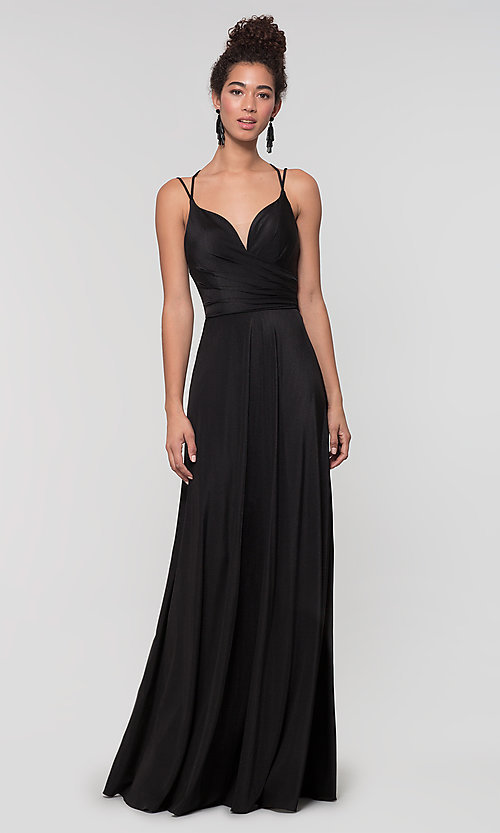 Image of strappy-back long bridesmaid dress. Style: KL-200152 Detail Image 7