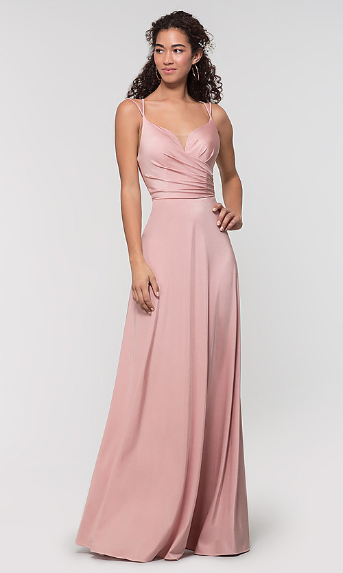 Image of strappy-back long bridesmaid dress. Style: KL-200152 Front Image