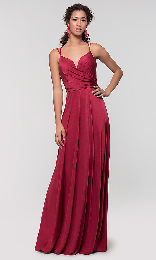 Image of strappy-back long bridesmaid dress. Style: KL-200152 Detail Image 5