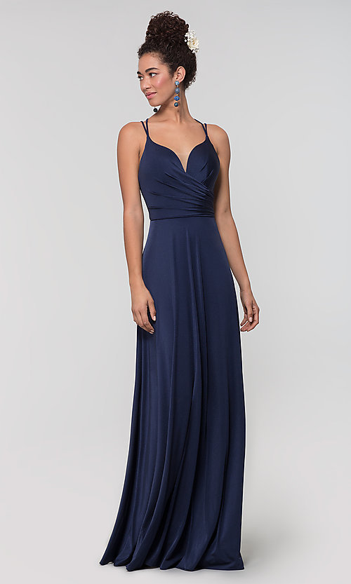Image of strappy-back long bridesmaid dress. Style: KL-200152 Detail Image 6
