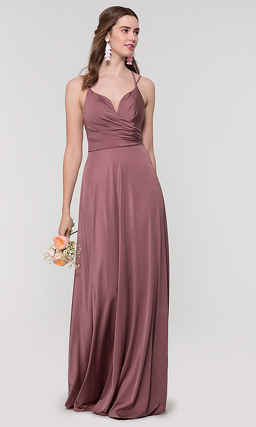 Image of strappy-back long bridesmaid dress. Style: KL-200152 Detail Image 1