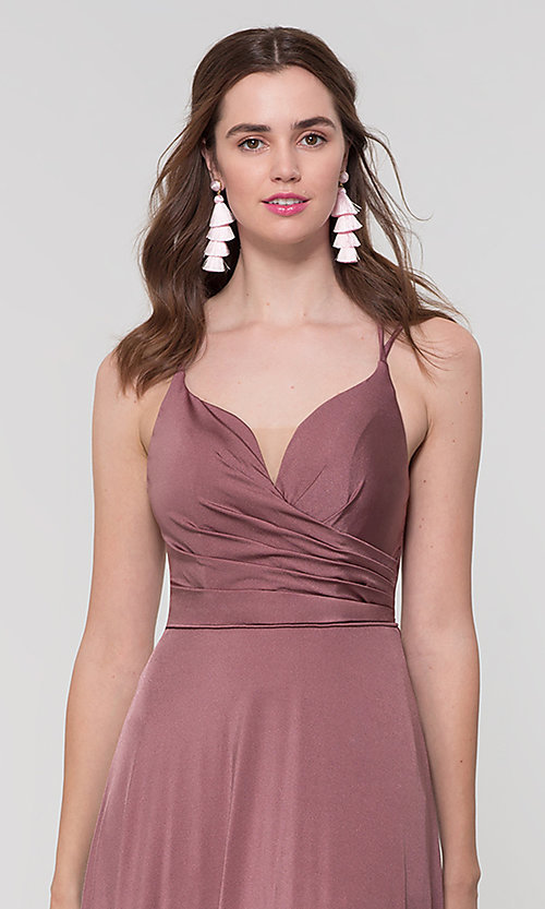Image of strappy-back long bridesmaid dress. Style: KL-200152 Detail Image 2