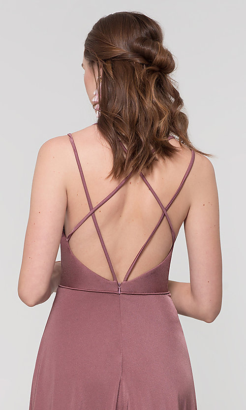 Image of strappy-back long bridesmaid dress. Style: KL-200152 Detail Image 3