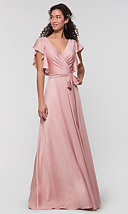Image of faux-wrap long formal dress for prom. Style: KL-200153 Detail Image 4