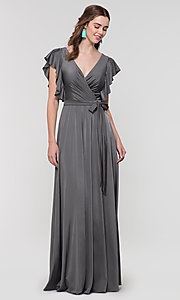 Image of faux-wrap long formal dress for prom. Style: KL-200153 Detail Image 5