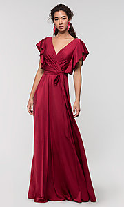 Image of faux-wrap long formal dress for prom. Style: KL-200153 Detail Image 6