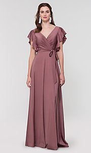 Image of faux-wrap long formal dress for prom. Style: KL-200153 Detail Image 1