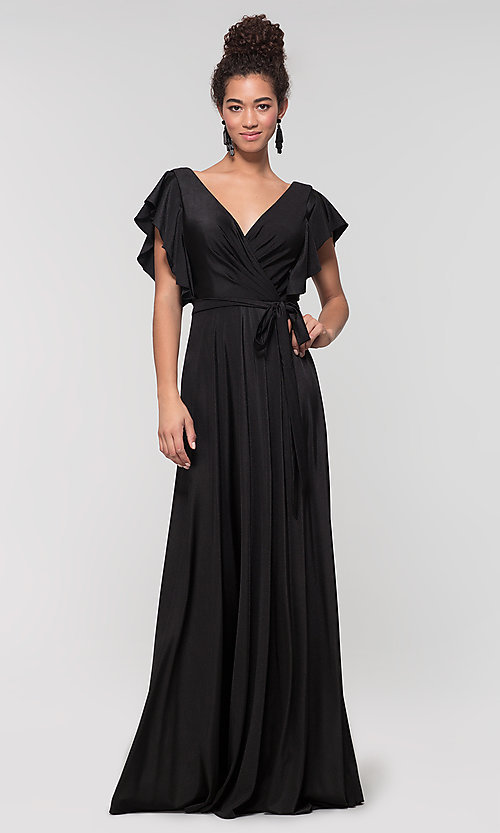Image of faux-wrap long formal dress for prom. Style: KL-200153 Detail Image 7