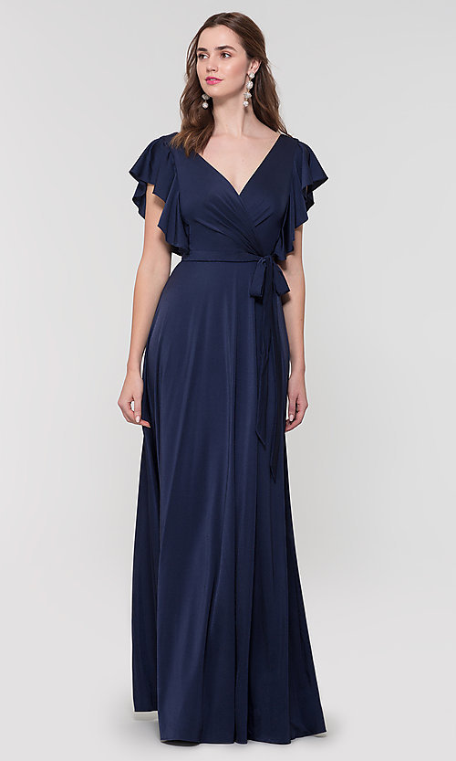 Image of faux-wrap long formal dress for prom. Style: KL-200153 Front Image