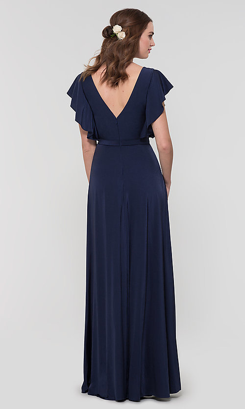 Image of faux-wrap long formal dress for prom. Style: KL-200153 Back Image