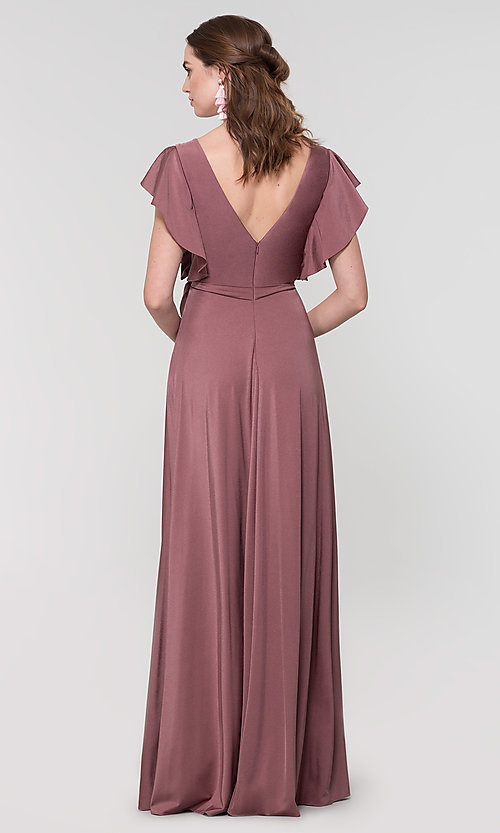 Image of faux-wrap long formal dress for prom. Style: KL-200153 Detail Image 2