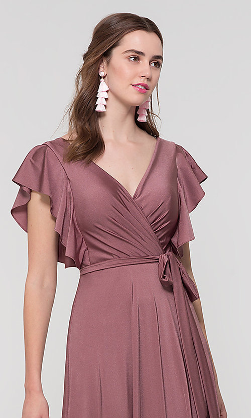 Image of faux-wrap long formal dress for prom. Style: KL-200153 Detail Image 3
