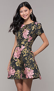 Image of short a-line woven floral-print holiday party dress. Style: MD-D15983CUQ Front Image