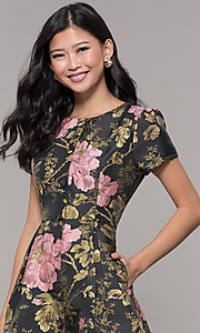 Image of short a-line woven floral-print holiday party dress. Style: MD-D15983CUQ Detail Image 1