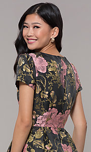 Image of short a-line woven floral-print holiday party dress. Style: MD-D15983CUQ Detail Image 2